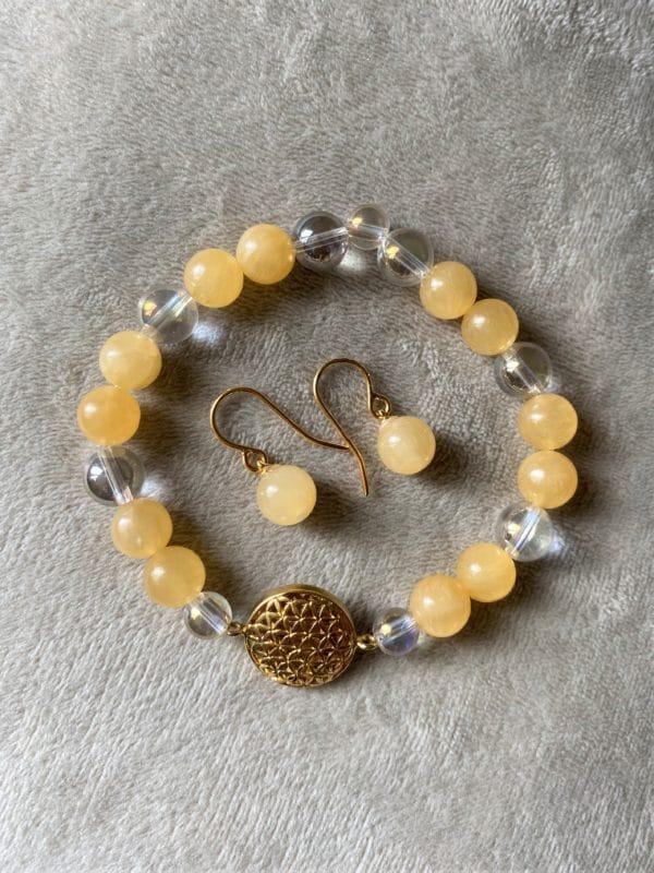 Edelsteinarmband Orangencalzit mit Angel Aura - Blume des Lebens 5 SanjaNatur