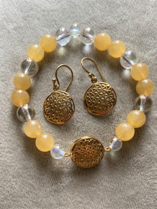 Edelsteinarmband Orangencalzit mit Angel Aura - Blume des Lebens 4 SanjaNatur