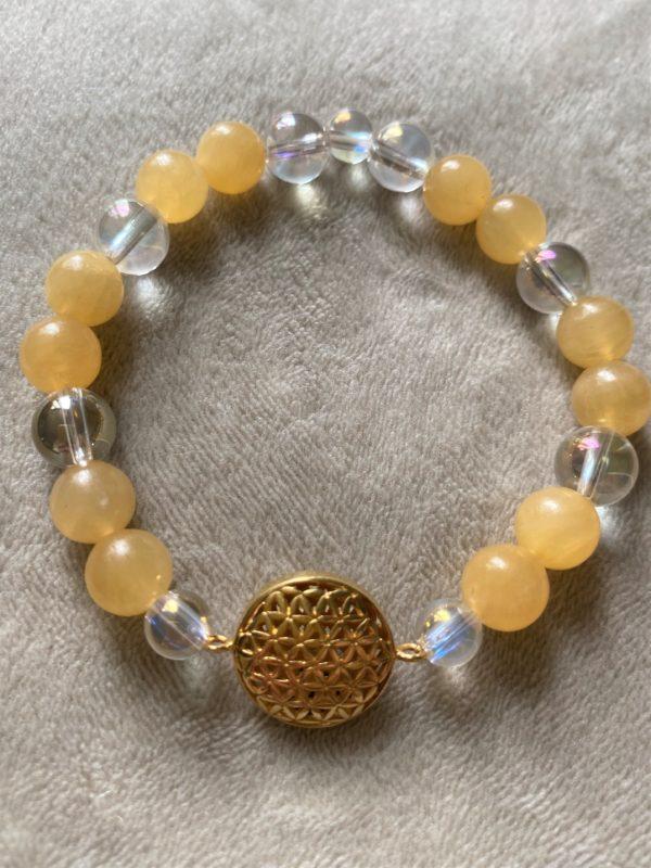 Edelsteinarmband Orangencalzit mit Angel Aura - Blume des Lebens 3 SanjaNatur