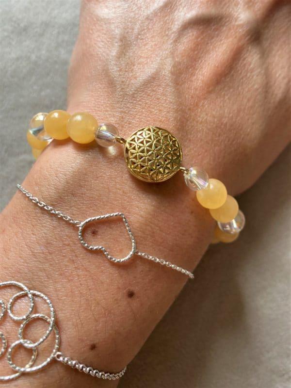 Edelsteinarmband Orangencalzit mit Angel Aura - Blume des Lebens 1 SanjaNatur