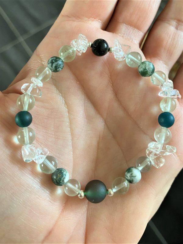 Edelsteinarmband Moosachat, Bergkristall mit Regenbogenfluorit - Ausdauer und Vitalität 3 SanjaNatur