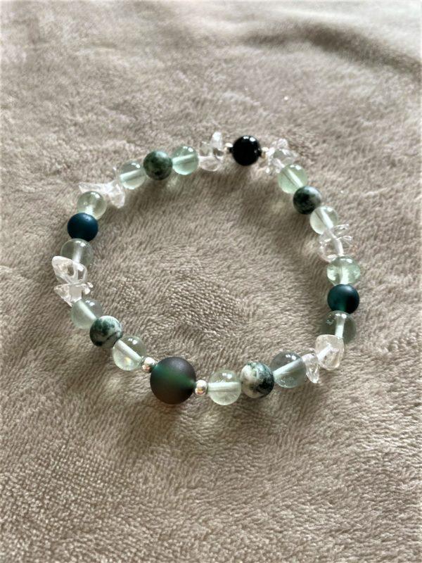 Edelsteinarmband Moosachat, Bergkristall mit Regenbogenfluorit - Ausdauer und Vitalität 4 SanjaNatur