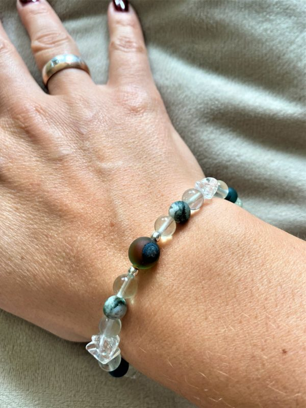 Edelsteinarmband Moosachat, Bergkristall mit Regenbogenfluorit - Ausdauer und Vitalität 2 SanjaNatur
