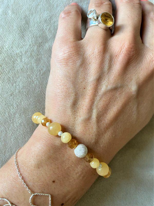 Edelsteinarmband Orangencalzit mit Citrin - Mitte und Selbstliebe 4 SanjaNatur