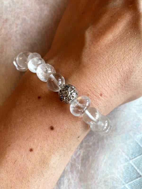 Edelsteinarmband 13 - Bergkristall mit Zirkonia Kugel Klarheit und Sicherheit 3 SanjaNatur