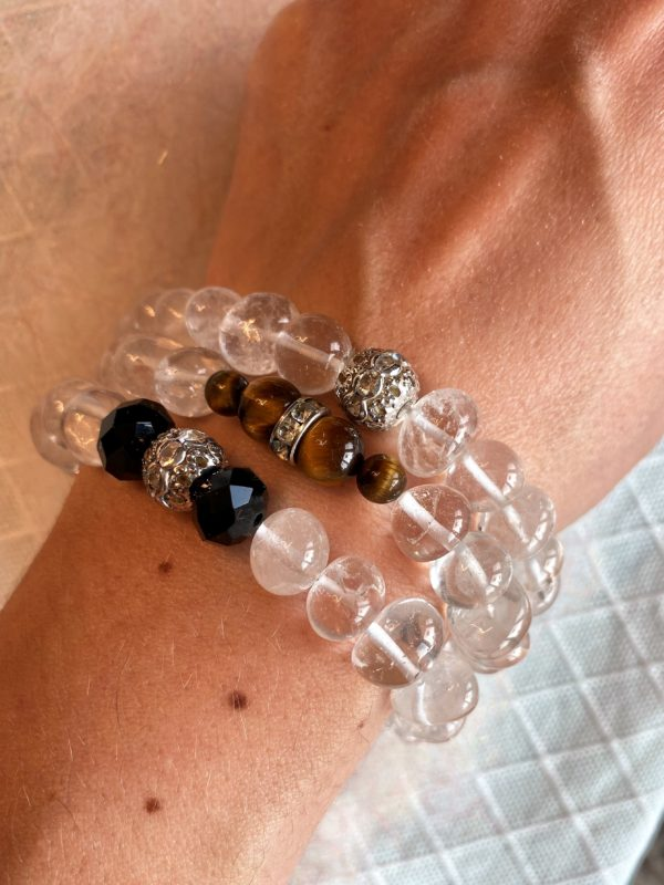 Edelsteinarmband 13 - Bergkristall mit Zirkonia Kugel Klarheit und Sicherheit 4 SanjaNatur