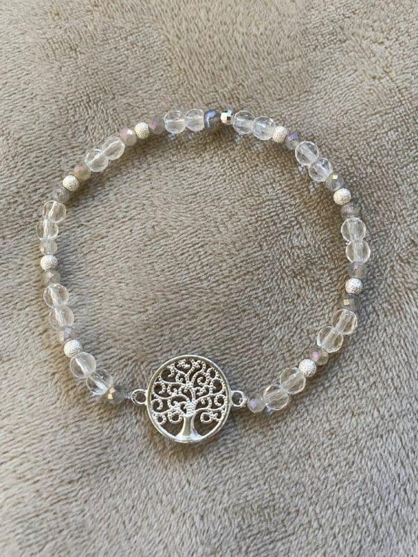 Edelsteinarmband Labradorit + Bergkristall mit Baum des Lebens - Silber 1 SanjaNatur
