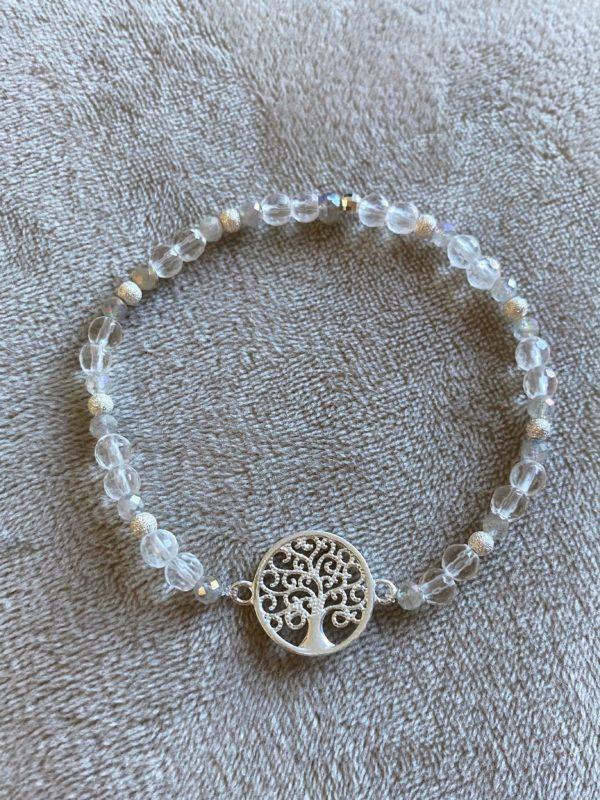 Edelsteinarmband Labradorit + Bergkristall mit Baum des Lebens - Silber 4 SanjaNatur