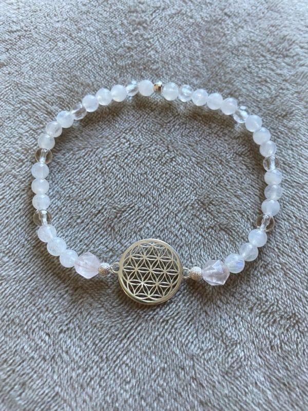 Edelsteinarmband Labradorit + Rosenquarz mit Blume des Lebens - Silber 1 SanjaNatur