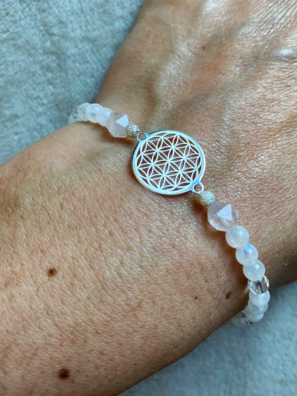Edelsteinarmband Labradorit + Rosenquarz mit Blume des Lebens - Silber 3 SanjaNatur