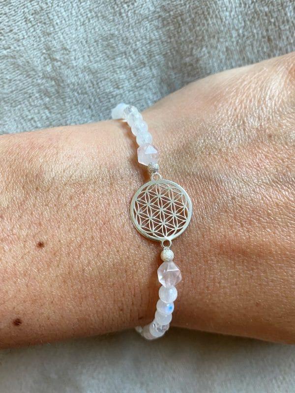 Edelsteinarmband Labradorit + Rosenquarz mit Blume des Lebens - Silber 2 SanjaNatur