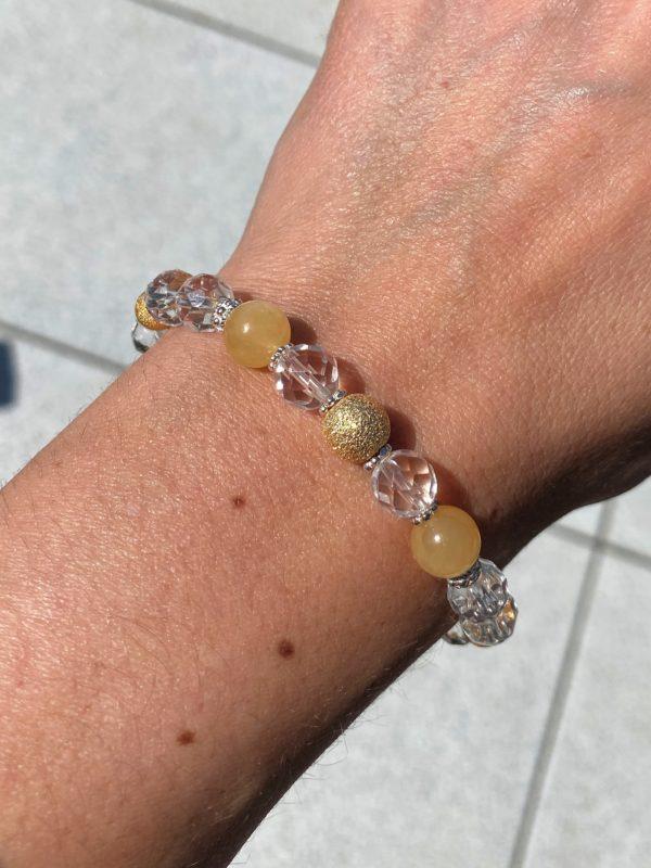 Edelsteinarmband Bergkristall facettiert mit Orangencalzit - innere Mitte und Ausgeglichenheit 4 SanjaNatur