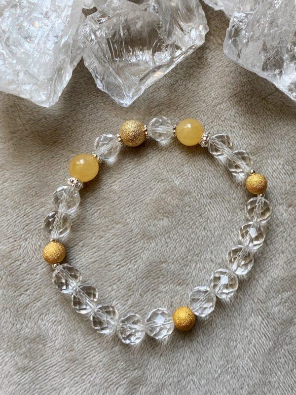 Edelsteinarmband Bergkristall facettiert mit Orangencalzit - innere Mitte und Ausgeglichenheit 1 SanjaNatur