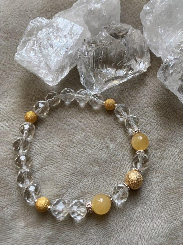 Edelsteinarmband Bergkristall facettiert mit Orangencalzit - innere Mitte und Ausgeglichenheit 3 SanjaNatur
