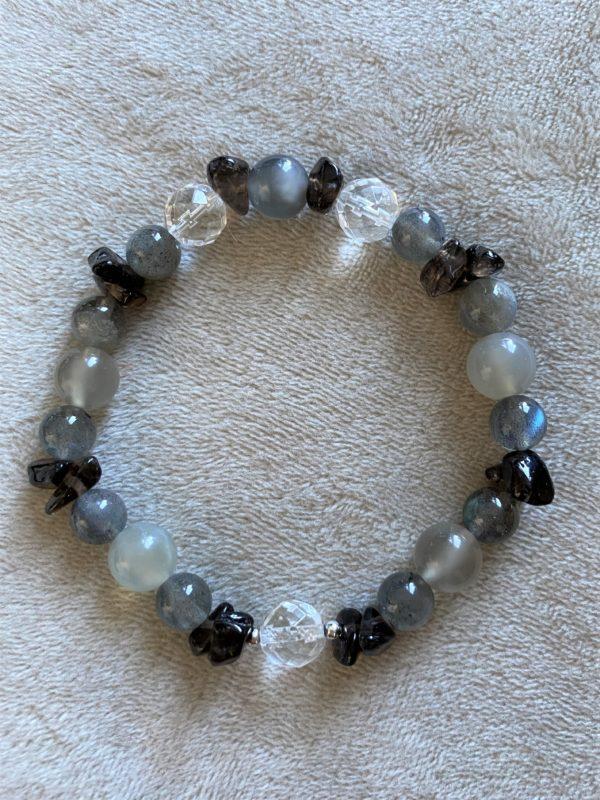 Edelsteinarmband Labradorit, Mondstein mit Bergkristall und Rauchquarz - Ausgeglichenheit 2 SanjaNatur