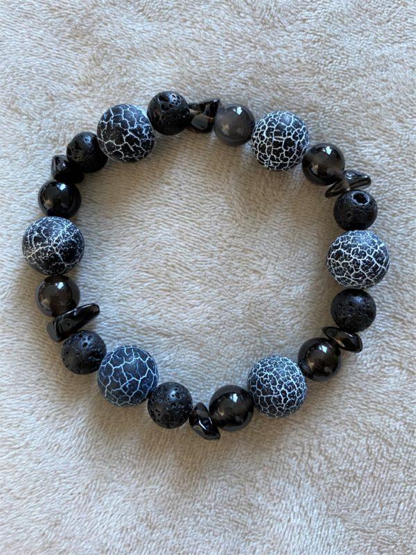 Edelsteinarmband Obsidian mit Onyx, Lava und Rauchquarz - Energie + Lebenskraft 5 SanjaNatur