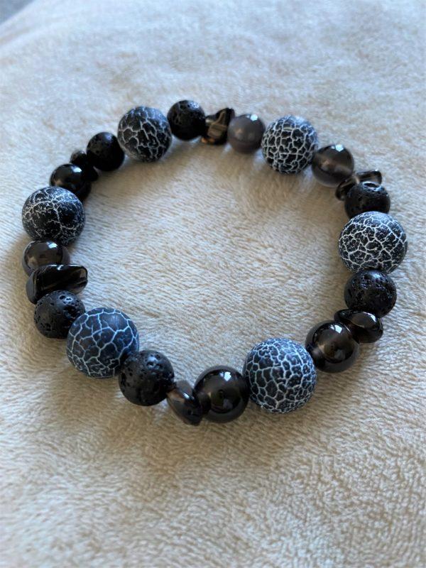 Edelsteinarmband Obsidian mit Onyx, Lava und Rauchquarz - Energie + Lebenskraft 4 SanjaNatur