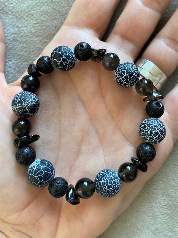 Edelsteinarmband Obsidian mit Onyx, Lava und Rauchquarz - Energie + Lebenskraft 6 SanjaNatur