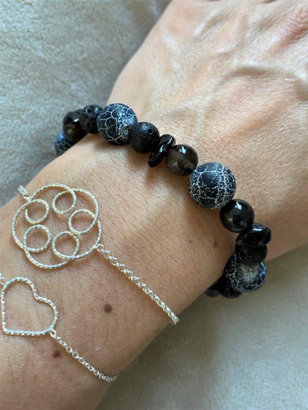 Edelsteinarmband Obsidian mit Onyx, Lava und Rauchquarz - Energie + Lebenskraft 2 SanjaNatur