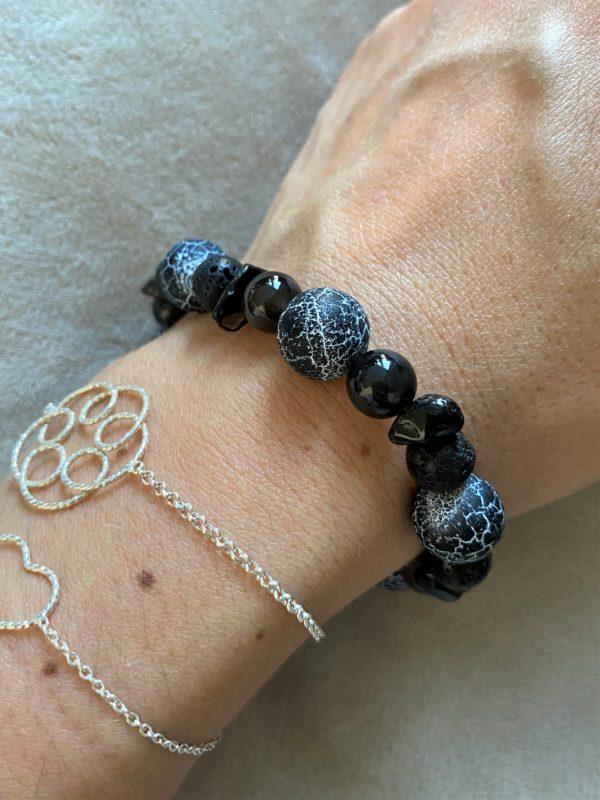 Edelsteinarmband Obsidian mit Onyx, Lava und Rauchquarz - Energie + Lebenskraft 1 SanjaNatur