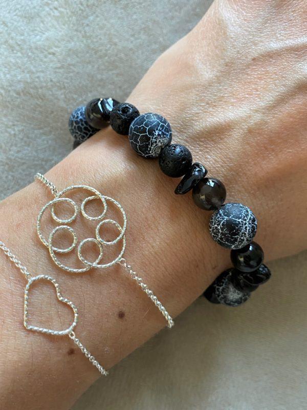 Edelsteinarmband Obsidian mit Onyx, Lava und Rauchquarz - Energie + Lebenskraft 3 SanjaNatur