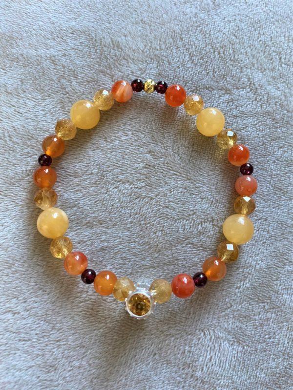 Edelsteinarmband Citrin mit Carneol, Orangencalzit und Granat - Mitte und Charisma 3 SanjaNatur