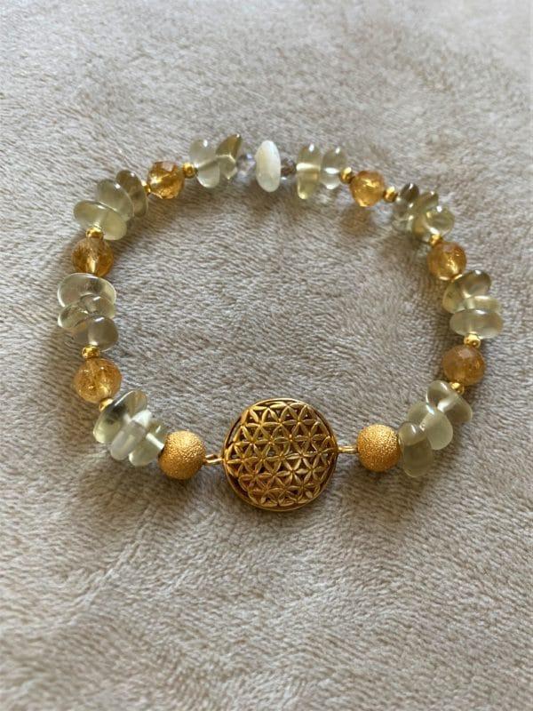 Edelsteinarmband Limonenquarz mit Citrin - Blume des Lebens gold 2 SanjaNatur