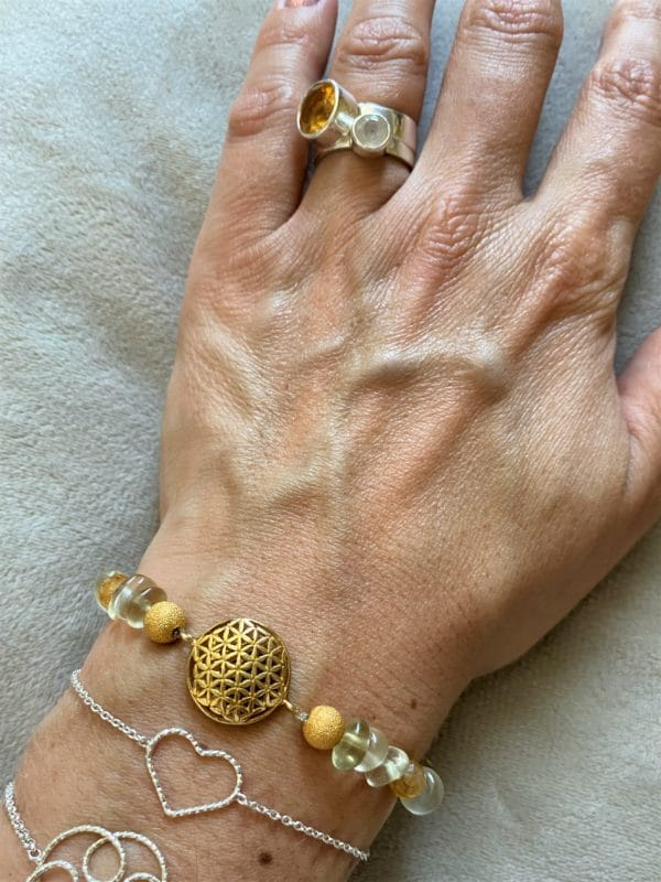 Edelsteinarmband Limonenquarz mit Citrin - Blume des Lebens gold 4 SanjaNatur