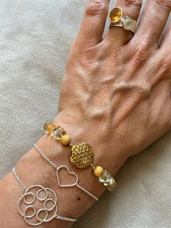 Edelsteinarmband Limonenquarz mit Citrin - Blume des Lebens gold 3 SanjaNatur