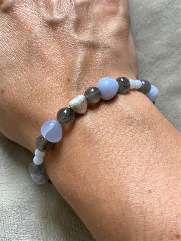 Edelsteinarmband Labradorit mit blauen Chalzedon - Aufmerksamkeit und Kreativität 1 SanjaNatur