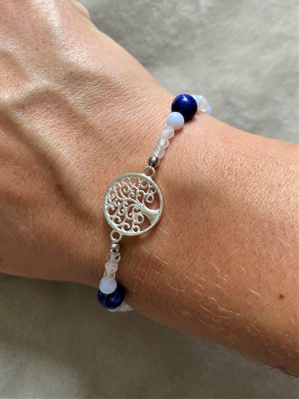 Edelsteinarmband Lapislazuli mit blauen Chalzedon und Labradorit - Baum des Lebens 4 SanjaNatur
