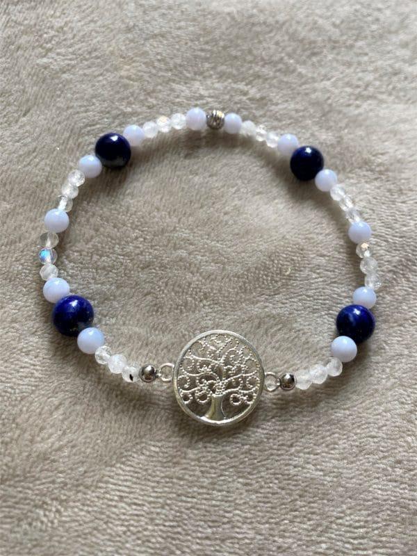 Edelsteinarmband Lapislazuli mit blauen Chalzedon und Labradorit - Baum des Lebens 5 SanjaNatur