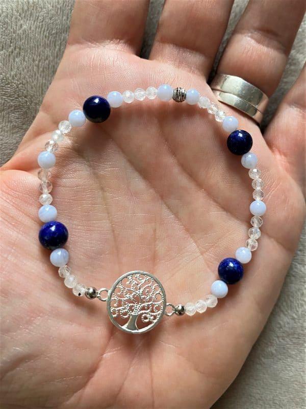 Edelsteinarmband Lapislazuli mit blauen Chalzedon und Labradorit - Baum des Lebens 2 SanjaNatur