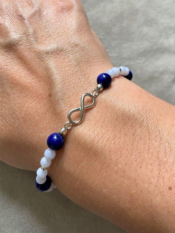 Edelsteinarmband Lapislazuli mit blauen Chalzedon - Unendlichkeit 4 SanjaNatur