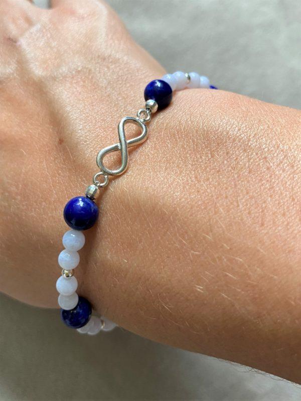 Edelsteinarmband Lapislazuli mit blauen Chalzedon - Unendlichkeit 3 SanjaNatur