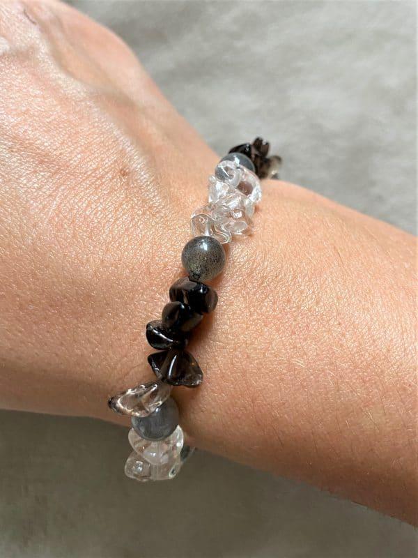 Edelsteinarmband Bergkristall, Rauchquarz  und Labradorit - Entspannung und Sicherheit 1 SanjaNatur