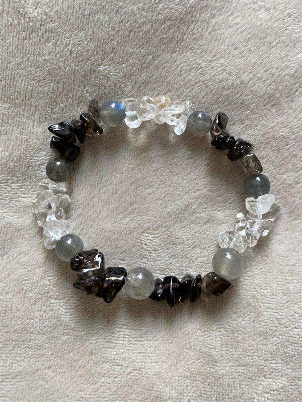 Edelsteinarmband Bergkristall, Rauchquarz  und Labradorit - Entspannung und Sicherheit 4 SanjaNatur