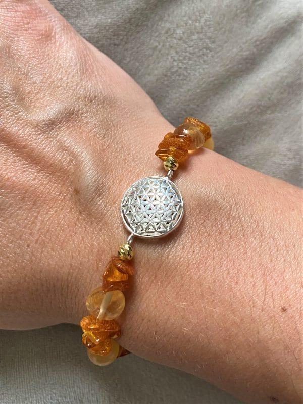 Edelsteinarmband Orangencalzit, Citrin mit Bernstein - Mitte und Selbstliebe - Blume d. Lebens 1 SanjaNatur