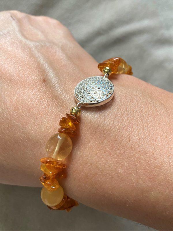 Edelsteinarmband Orangencalzit, Citrin mit Bernstein - Mitte und Selbstliebe - Blume d. Lebens 2 SanjaNatur