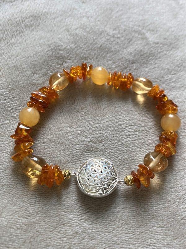 Edelsteinarmband Orangencalzit, Citrin mit Bernstein - Mitte und Selbstliebe - Blume d. Lebens 3 SanjaNatur