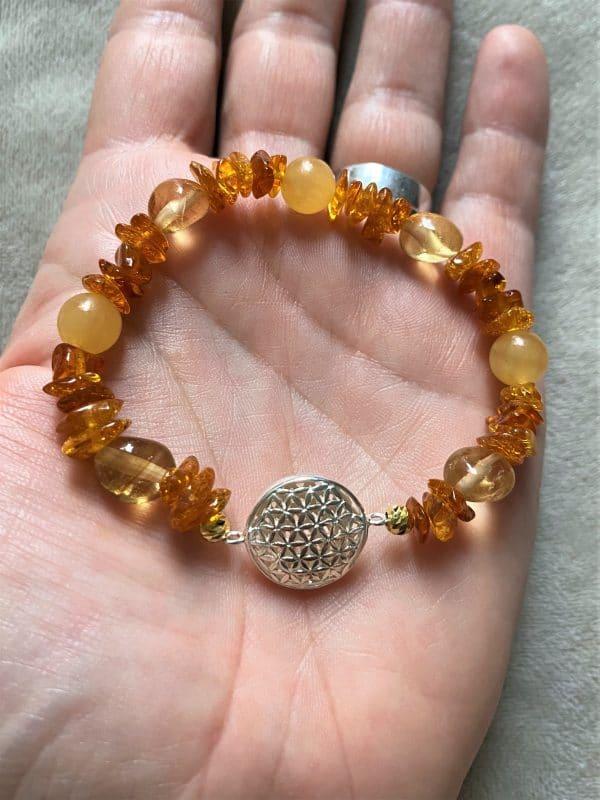 Edelsteinarmband Orangencalzit, Citrin mit Bernstein - Mitte und Selbstliebe - Blume d. Lebens 4 SanjaNatur