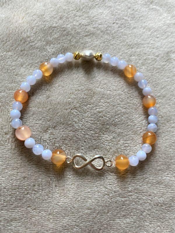 Edelsteinarmband Carneol mit blauen Chalzedon - Zuversicht und Charisma 3 SanjaNatur