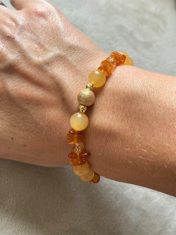 Edelsteinarmband Orangencalzit, Citrin mit Bernstein - Mitte und Selbstliebe 2 SanjaNatur