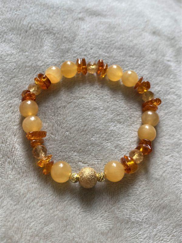 Edelsteinarmband Orangencalzit, Citrin mit Bernstein - Mitte und Selbstliebe 5 SanjaNatur