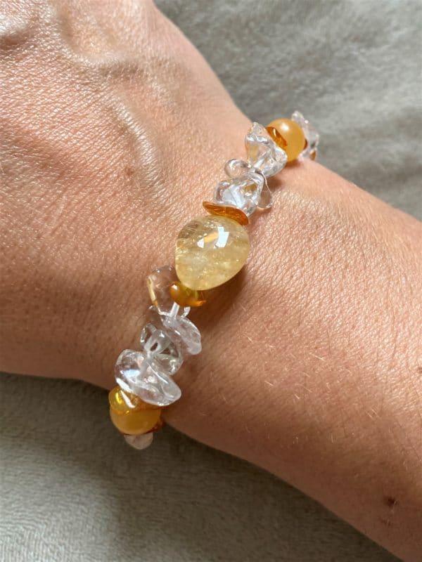 Edelsteinarmband Orangencalzit, Citrin mit Bernstein und Bergkristall - Silberherz 1 SanjaNatur