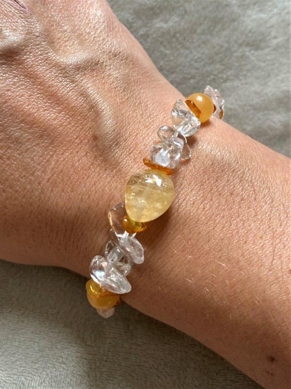 Edelsteinarmband Orangencalzit, Citrin mit Bernstein und Bergkristall - Silberherz 2 SanjaNatur