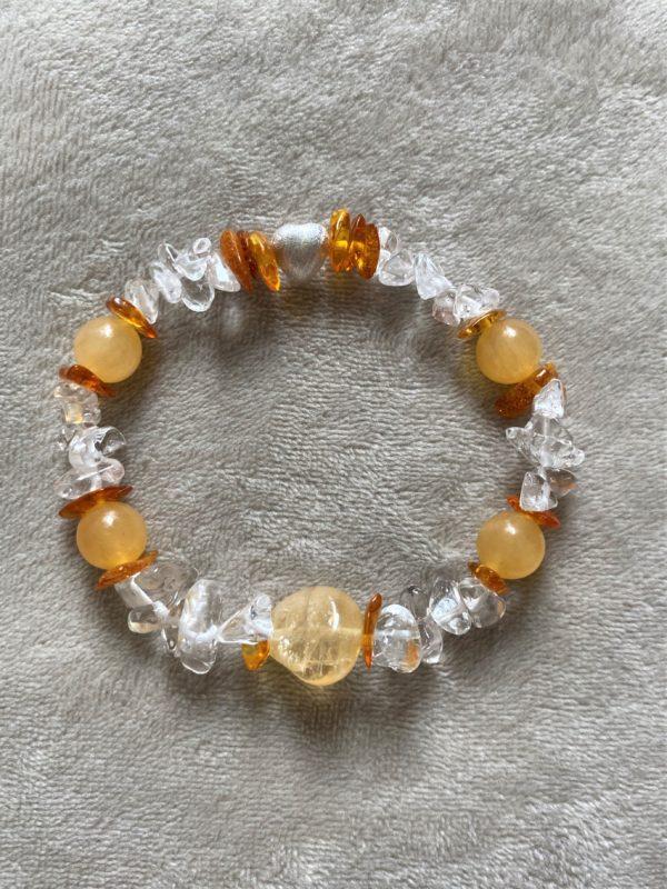 Edelsteinarmband Orangencalzit, Citrin mit Bernstein und Bergkristall - Silberherz 3 SanjaNatur