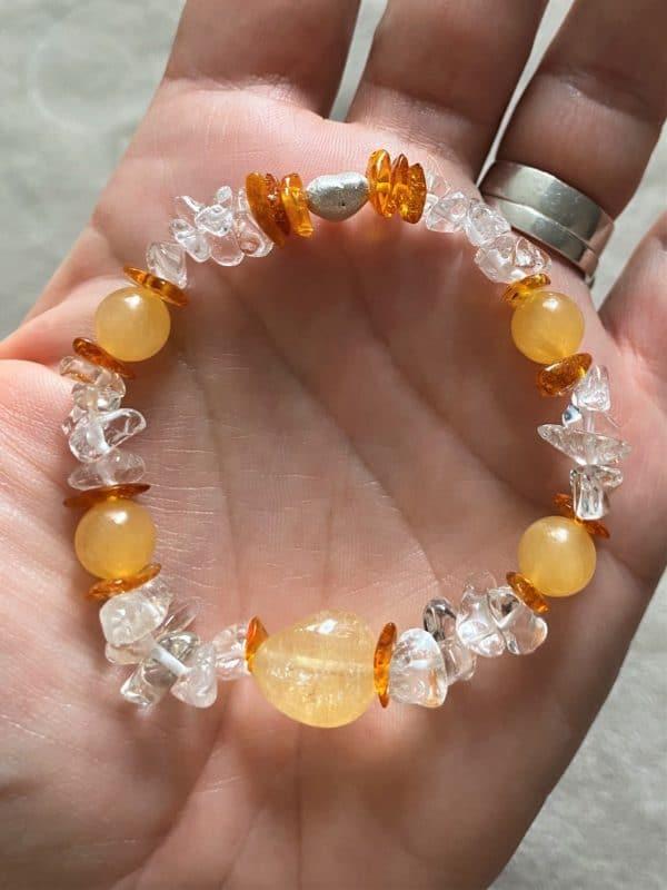 Edelsteinarmband Orangencalzit, Citrin mit Bernstein und Bergkristall - Silberherz 4 SanjaNatur