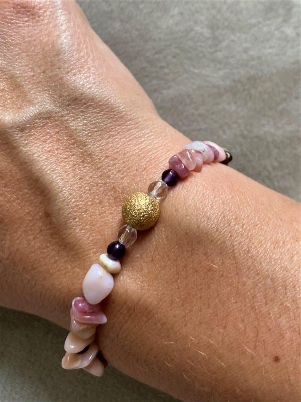 Edelsteinarmband Amethyst, Rhodonit mit Bergkristall goldener Kugel - Harmonie und Verständnis 2 SanjaNatur