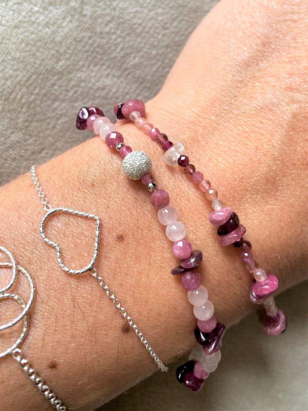 Edelsteinarmband rosa-roter Turmalin mit Rosenquarz - Süden und Neubeginn 4 SanjaNatur
